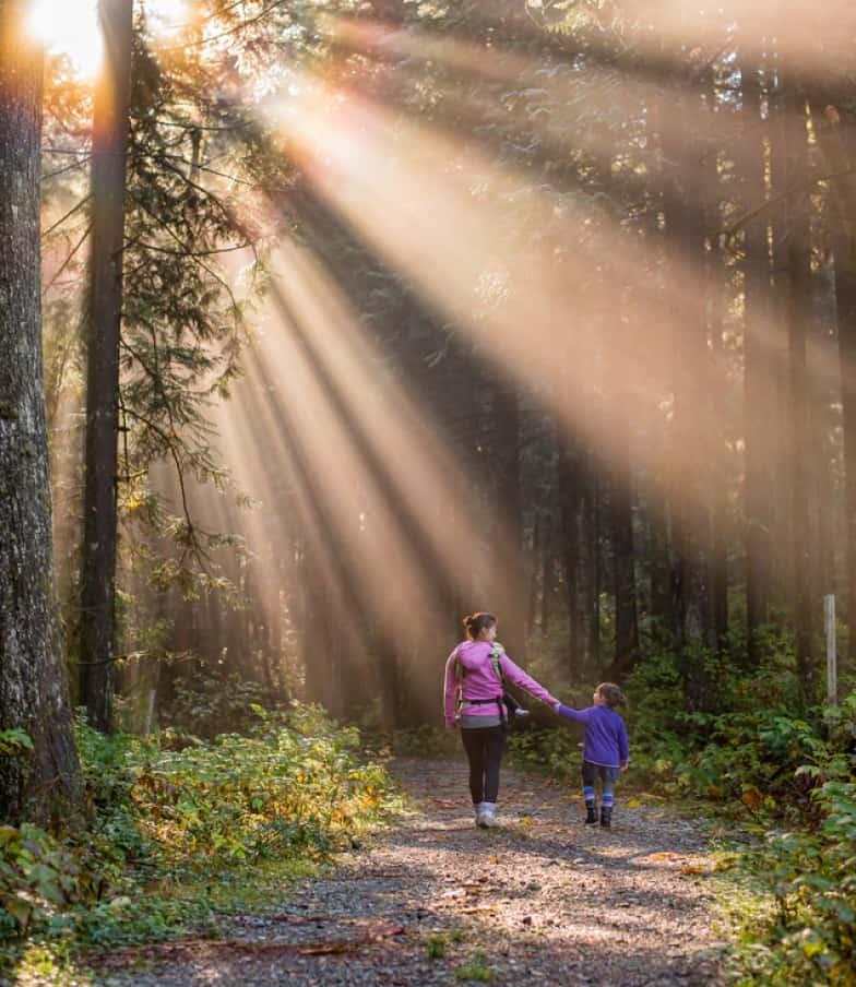 Mutter und Kind beim Waldspaziergang